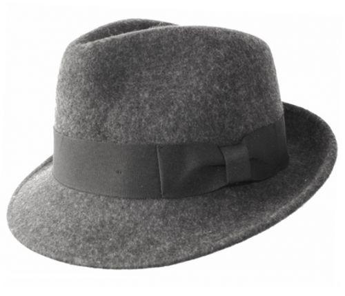 WOOL FELT FEDORA HATS WITH GROSGRAIN BAND HE02