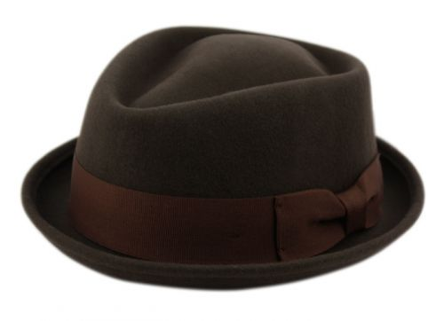 WOOL FELT FEDORA HATS HE06 BROWN