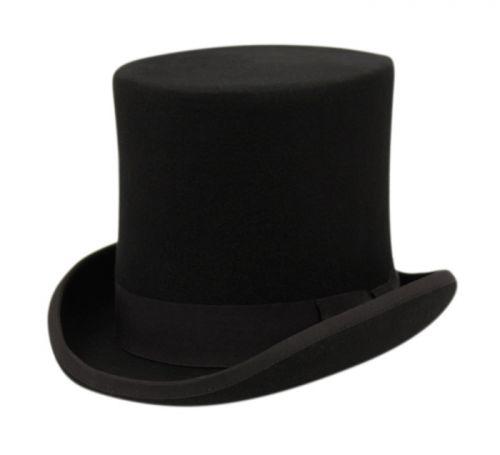 HIGH CROWN FLAT-TOP FELT HATS WITH GROSGRAIN BAND HE43