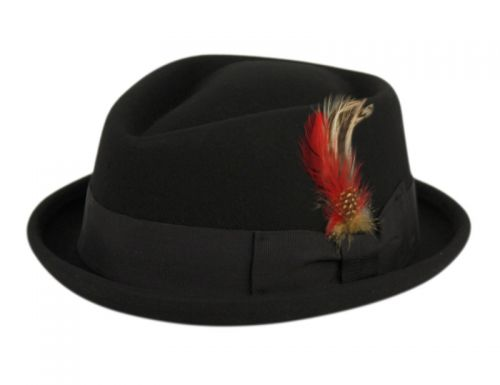PORK PIE FELT FEDORA HATS WITH GROSGRAIN BAND & FEATHER TRIM HE54