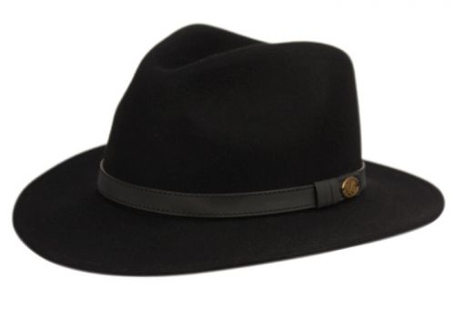 WOOL FELT OUTBACK FEDORA HATS WITH FAUX LEATHER BAND HE57