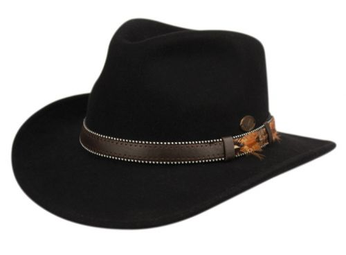 224a86019f2f3c WOOL FELT OUTBACK FEDORA HATS WITH DOTTED FAUX LEATHER BAND HE58 - Epoch  Fashion Accessory