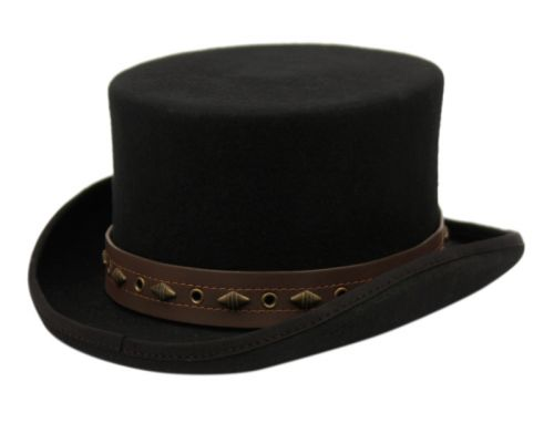LOW CROWN STEAMPUNK TOP HAT WITH PU BAND AND CHAIN HE62
