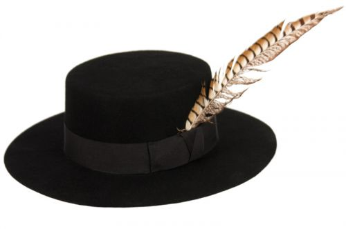 FLAT-TOP FELT HATS WITH GROSGRAIN BAND & FEATHER TRIM HE63
