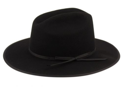 WOOL FELT FLAT BRIM WESTERN TOP HATS WITH LEATHER BAND HE72