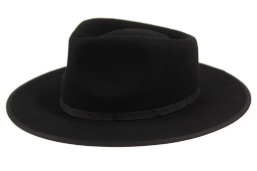 WOOL FELT FLAT BRIM RESISTOL WESTERN HATS WITH BAND HE73