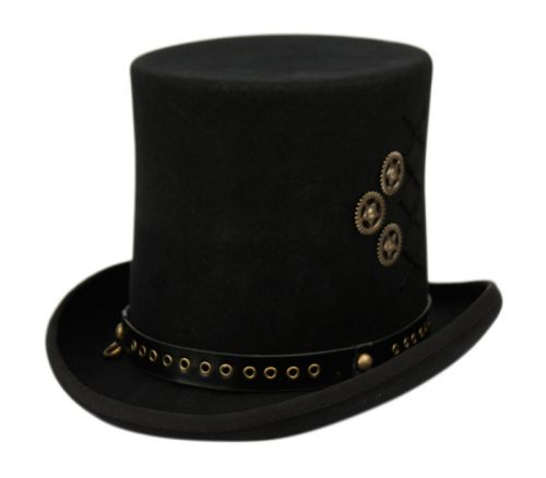 WOOL FELT TOP HATS WITH PERFORATED LEATHER BAND & DECORATION  TRIMS HE80