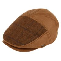 GLEN PLAID WOOL & PU FLAT IVY CAPS  IV2328