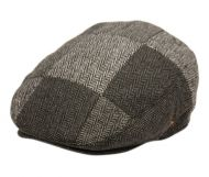 HERRINGBONE CHECK PATCH WORK WOOL IVY CAPS W/SATIN QUILTED LINING IV3010