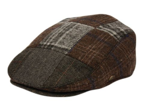 TWEED PATCH WORK WOOL IVY CAPS W/SATIN QUILTED LINING IV3055