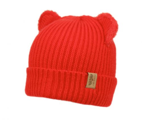 KIDS CABLE KNIT CAT BEANIE W/SHERPA LINING KBN4062