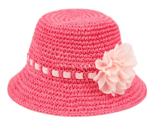 KIDS PAPER STRAW BUCKET HATS WITH RIBBON BAND & FLOWER KD2794