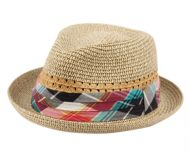 KIDS PAPER STRAW FEDORA HATS WITH FABRIC BAND KD2795