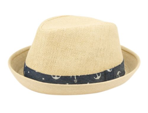 KIDS PAPER STRAW FEDORA HATS WITH BAND KIDS2947