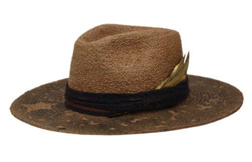 MORRETON VINTAGE RAFFIA STRAW FEDORA HAT M105