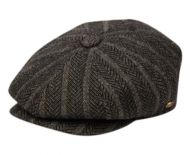 HERRINGBONE WOOL BLEND STRIPE NEWSBOY CAP NSB3051
