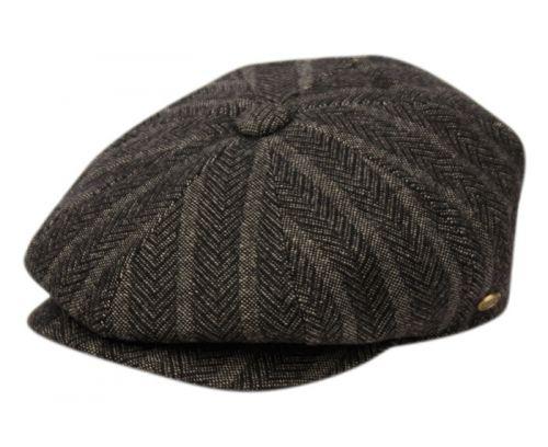 HERRINGBONE WOOL BLEND STRIPE NEWSBOY CAP NSB3051