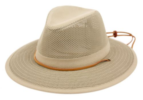 OUTDOOR COTTON FEDORA HATS WITH MESH & LEATHER STRING OD2727
