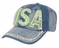 Fashion Crystal USA Cap RH102