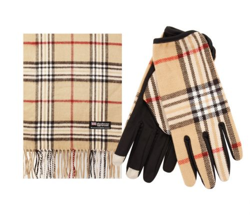 PLAID SCARF & GLOVE SET S011/GL011-6KHAKI
