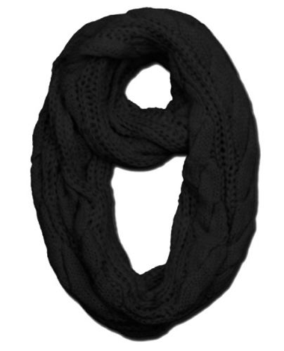 WINTER NECK WARMER INFINITY KNIT SCARVES SC1577 BLACK