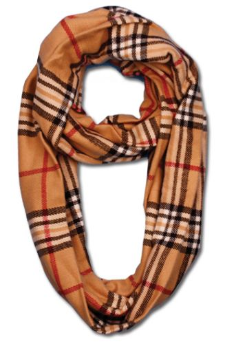 PLAID NECK WARMER LOOP INFINITY SCARVES SC1799 K