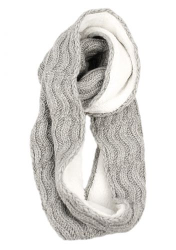 WOOL BLEND CABLE KNIT INFINITY SCARF W/SHERPA LINING SC4051