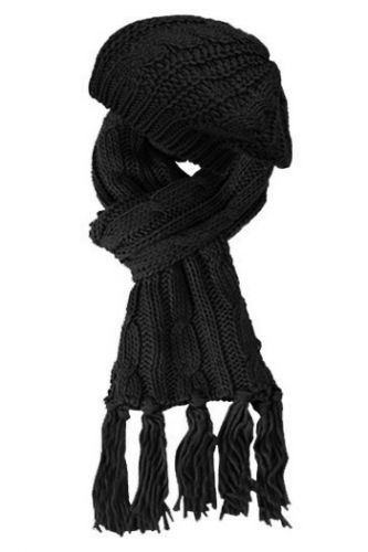 KNIT BERET AND SCARF SETS SET2049BLACK