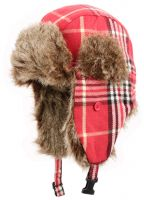 WINTER FAUX FUR PLAID TROOPER HAT TP476ASST
